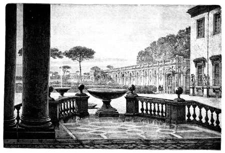 opulent: 19th century engraving of the French Academy in Rome, Italy, photographed from a book  titled