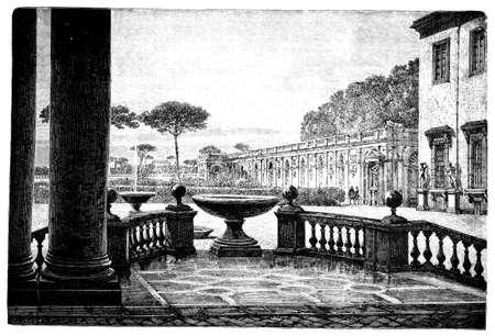 Gravur der Akademie Französisch in Rom, Italien des 19. Jahrhunderts, aus einem Buch mit dem Titel fotografiert Standard-Bild - 42499406