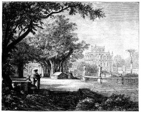 villa: 19th Ccentury engraving of the Villa Doria Pamphili, Rome, Italy, photographed from a book  titled Stock Photo