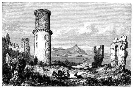 19th: 19th century engraving of ruins in Campagna, Italy, photographed from a book  titled