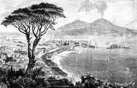 19th century engraving of a view of Naples, Italy, photographed from a book  titled