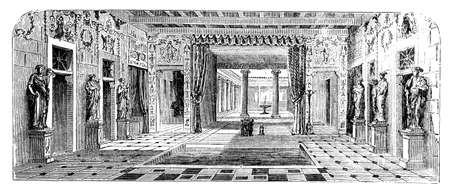 villas: 19th century engraving of a Roman Villa, Pompeii, Italy, photographed from a book  titled