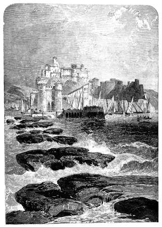 naples: 19th centry engraving of Pozzuoli, Naples, Italy, photographed from a book  titled