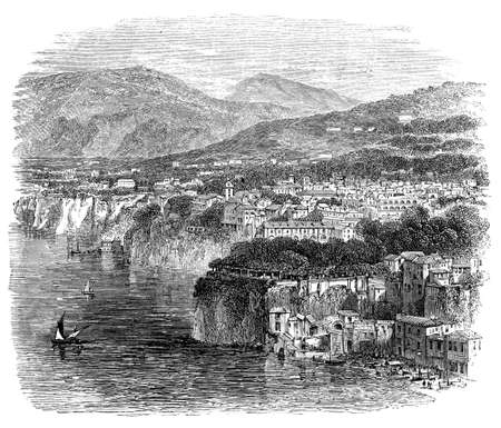 19th century engraving of Sorrento, Italy, photographed from a book  titled Stok Fotoğraf
