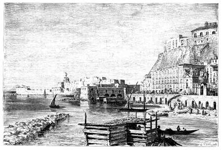 harbour: 19th century engraving of Naples harbour, Italy, photographed from a book  titled Stock Photo