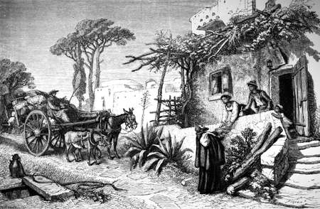 naples: 19th century engraving of a village scene, Naples, Italy, photographed from a book  titled
