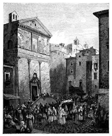 naples: 19th century engraving of a funeral procession, Naples, Italy, photographed from a book  titled Stock Photo
