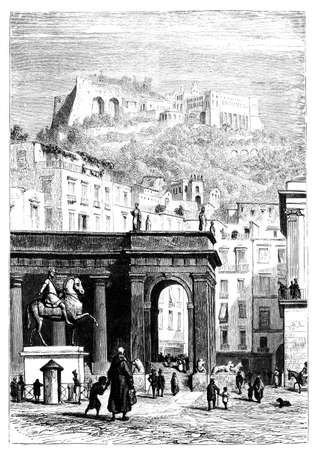 naples: 19th century engraving of Castel Sant Angelo, Rome Stock Photo