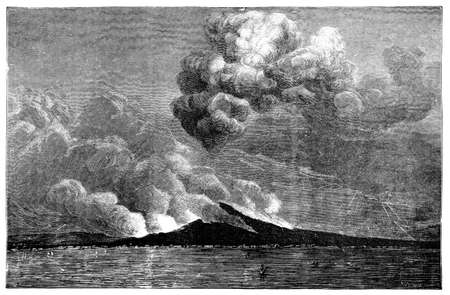 titled: 19th century engraving of an eruption at Mt. Vesuvius, Naples, Italy, photographed from a book  titled