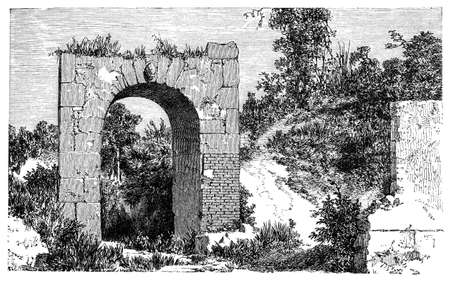 pompeii: 19th century of a ruined gate, Pompeii, Italy, photographed from a book  titled