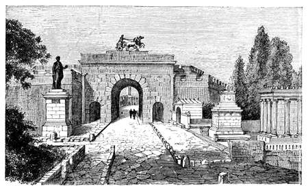 titled: 19th century engraving of Herculaneum Gate, Pompeii, Italy, photographed from a book  titled