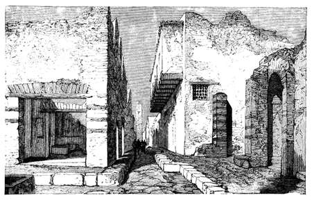 titled: 19th century engraving of streets of Pompeii, italy, photographed from a book  titled Stock Photo