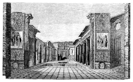 roman pillar: 19th century engraving of a villa, Pompeii, Italy, photographed from a book  titled