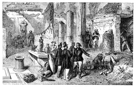 pompeii: 19th century engraving of archaeological excavations at Pompeii, Italy, photographed from a book  titled