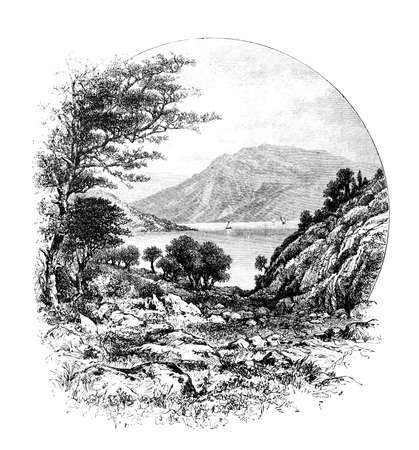 restored: Victorian engraving of a Greek landscape. Digitally restored image from a mid-19th century Encyclopaedia. Stock Photo