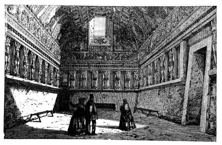 ancient roman: 19th century engraving of an ancient Roman Bath, Italy, photographed from a book  titled Italian Pictures Drawn with Pen and Pencil published in London ca. 1870.  Copyright has expired on this artwork. Digitally restored. Stock Photo