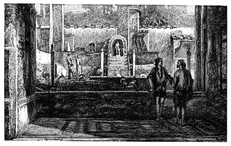 garden fountain: 19th century engraving on an ancient Roman garden, photographed from a book  titled Italian Pictures Drawn with Pen and Pencil published in London ca. 1870.  Copyright has expired on this artwork. Digitally restored.