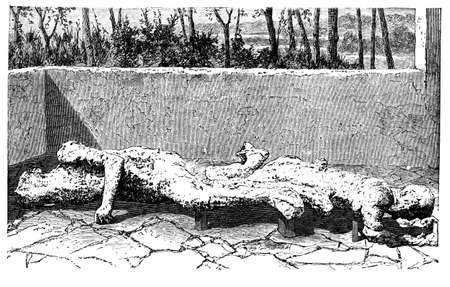 corpses: 19th century engraving of body casts from Pompeii, Italy, photographed from a book  titled Italian Pictures Drawn with Pen and Pencil published in London ca. 1870.  Copyright has expired on this artwork. Digitally restored.