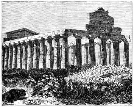 19e-eeuwse gravure van de tempel van Vesta in Paestum, Italië, gefotografeerd vanuit een boek met de titel 'Italian Pictures getekend met pen en potlood' gepubliceerd in Londen ca. 1870. auteursrecht heeft op dit kunstwerk is verstreken. Digitaal hersteld.