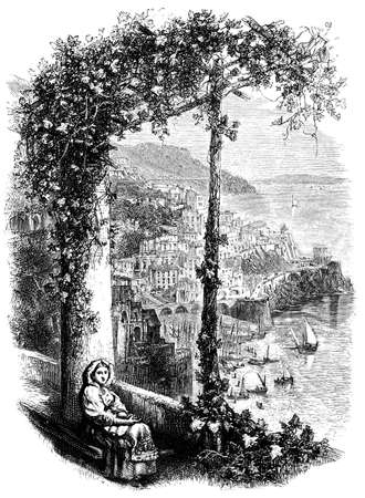 19e-eeuwse gravure van een uitzicht van Amalfi, Italië, gefotografeerd vanuit een boek met de titel 'Italian Pictures getekend met pen en potlood' gepubliceerd in Londen ca. 1870. auteursrecht heeft op dit kunstwerk is verstreken. Digitaal hersteld.