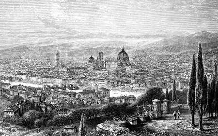 19e-eeuwse gravure van Florence, Italië, gefotografeerd vanuit een boek met de titel 'Italian Pictures getekend met pen en potlood' gepubliceerd in Londen ca. 1870. Copyright heeft over dit kunstwerk is verstreken. Digitaal hersteld. Stockfoto