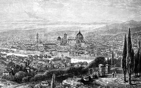 19th century engraving of Florence, Italy, photographed from a book  titled Italian Pictures Drawn with Pen and Pencil published in London ca. 1870.  Copyright has expired on this artwork. Digitally restored. Stock Photo