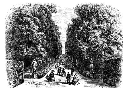 19th: 19th century engraving of Boboli Gardens, Florence, Italy, photographed from a book  titled Italian Pictures Drawn with Pen and Pencil published in London ca. 1870.  Copyright has expired on this artwork. Digitally restored.