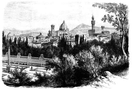19e-eeuwse gravure van een uitzicht over Florence, Italië, gefotografeerd vanuit een boek met de titel 'Italian Pictures getekend met pen en potlood' gepubliceerd in Londen ca. 1870. Copyright heeft over dit kunstwerk is verstreken. Digitaal hersteld. Stockfoto