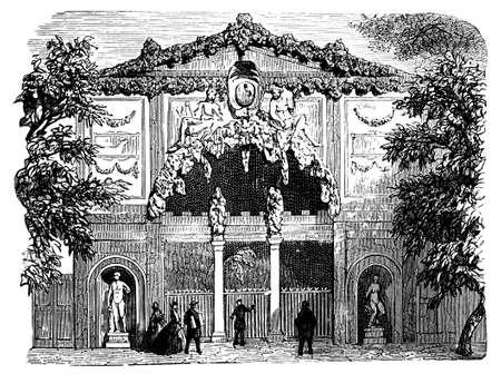 19e-eeuwse gravure van een grot bij Boboli tuinen, Florence, Italië, gefotografeerd vanuit een boek met de titel 'Italian Pictures getekend met pen en potlood' gepubliceerd in Londen ca. 1870. Copyright heeft over dit kunstwerk is verstreken. Digitaal hersteld.