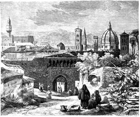 19th century engraving of the entrance to Florence, Italy, photographed from a book  titled Italian Pictures Drawn with Pen and Pencil published in London ca. 1870.  Copyright has expired on this artwork. Digitally restored.