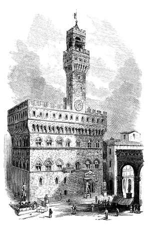 19e eeuwse gravure og Palazzo Vecchio, Florence, Italië, gefotografeerd vanuit een boek met de titel 'Italian Pictures getekend met pen en potlood' gepubliceerd in Londen ca. 1870. auteursrecht heeft op dit kunstwerk is verstreken. Digitaal hersteld.
