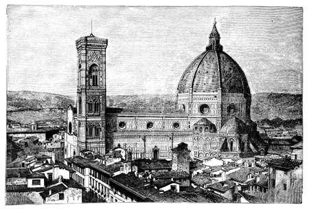 19e-eeuwse gravure van de Duomo en Campanile, Florence, Italië, gefotografeerd vanuit een boek met de titel 'Italian Pictures getekend met pen en potlood' gepubliceerd in Londen ca. 1870. Copyright heeft over dit kunstwerk is verstreken. Digitaal hersteld.