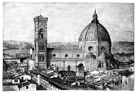 duomo of florence: 19th century engraving of the Duomo and Campanile, Florence, Italy, photographed from a book  titled Italian Pictures Drawn with Pen and Pencil published in London ca. 1870.  Copyright has expired on this artwork. Digitally restored.