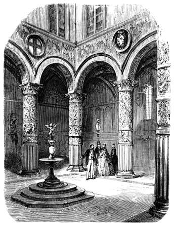 19th century of courtyard in Palazzo Vecchio, Florence, Italy, photographed from a book  titled Italian Pictures Drawn with Pen and Pencil published in London ca. 1870.  Copyright has expired on this artwork. Digitally restored.