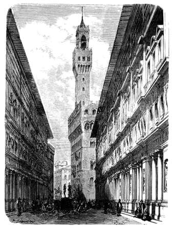 19th century engraving of Florence street, Italy, photographed from a book  titled Italian Pictures Drawn with Pen and Pencil published in London ca. 1870.  Copyright has expired on this artwork. Digitally restored.