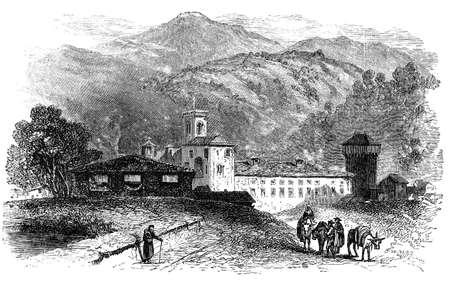 19e-eeuwse gravure van een oud klooster, Italië, gefotografeerd vanuit een boek met de titel 'Italian Pictures getekend met pen en potlood' gepubliceerd in Londen ca. 1870. auteursrecht heeft op dit kunstwerk is verstreken. Digitaal hersteld.