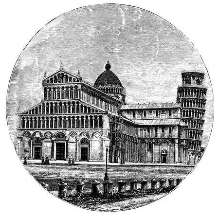 pisa cathedral: 19th century engraving of Pisa tower and cathedral, Italy, photographed from a book  titled Italian Pictures Drawn with Pen and Pencil published in London ca. 1870.  Copyright has expired on this artwork. Digitally restored. Stock Photo