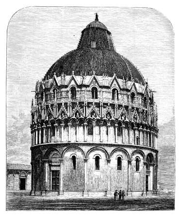 titled: 19th century engraving of the Baptistry, Pisa, Italy, photographed from a book  titled