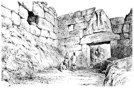 Victorian engraving of the Lions Gate, Mycenae, Greece