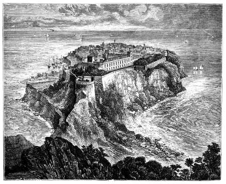 titled: 19th century engraving of Monaco, photographed from a book  titled