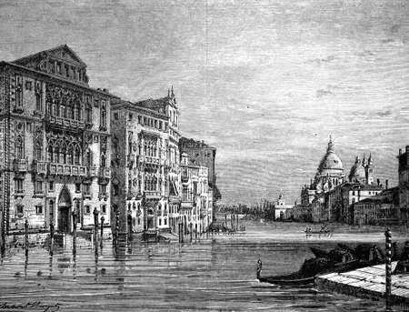 venice italy: 19th century engraving of the Grand Canal, Venice, Italy, photographed from a book  titled Stock Photo