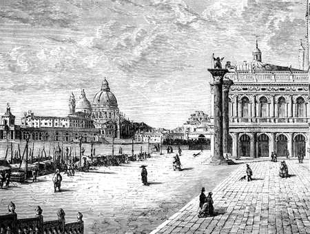 venice italy: 19th century engraving of view of Venice, Italy, photographed from a book  titled