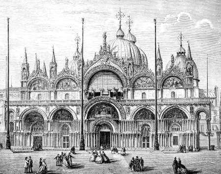 venice italy: 19th century engraving of Cathedral Sam Marco, Venice, Italy, photographed from a book  titled Stock Photo