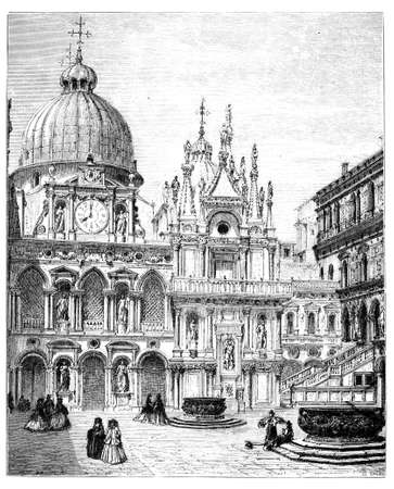 opulent: 19th century engraving of the Doges Palace, Venice