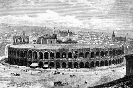 amphitheatre: 19th century engraving of the amphitheatre at Verona, Italy, photographed from a book  titled