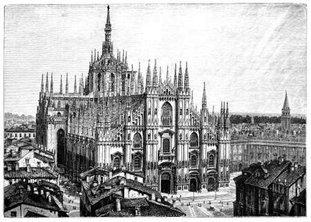 19th century engraving of Milan Cathedral, Milan, Rome, photographed from a book  titled Banco de Imagens - 42499658