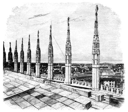 19th century engraving of roof of Milan Cathedral, Milan, Rome, photographed from a book  titled