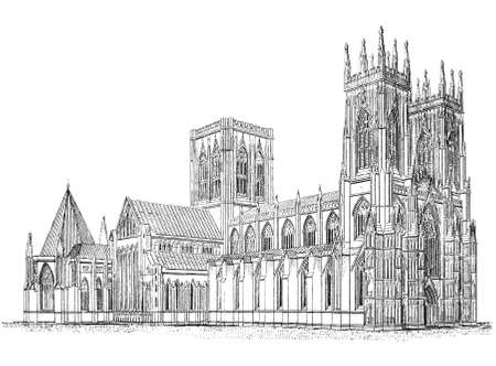 19th century engraving of Yorkminster Cathedral, York