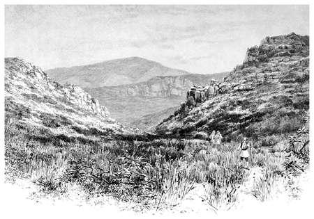 Victoriaanse gravure van een Griekse landschap. Digitaal hersteld beeld van een midden van de 19e eeuw Encyclopedie.