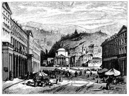 turin: 19th century engraving of Turin, Italy, photographed from a book  titled